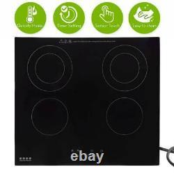 220V Electric Ceramic Hob Induction Stove Cooker Cooktop Plate 4 Burner Timer