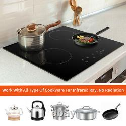 59cm Ceramic Hob Cookology, Black, 4 Zone, Built-in worktop, Touch Controls, Electric