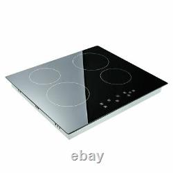 6000W Black Electric Ceramic Hob 60cm Touch Control 4 Zone Satin Kitchenware UK