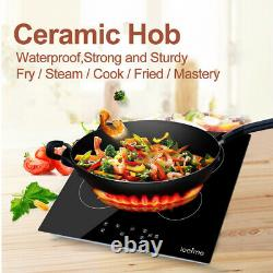 6000W Electric Ceramic Hob 59cm Touch Control 4 Zone Satin Glass Kitchen Cooker
