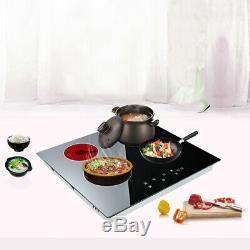 6000W Electric Ceramic Hob 60cm Touch Control 4 Zone Satin Black Kitchenware UK
