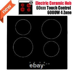 6000W Electric Ceramic Hob 60cm Touch Control 4 Zone Satin Glass Kitchen Cooker