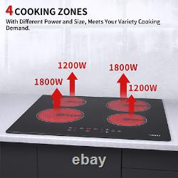 60cm 4 Zone Electric Ceramic Hob in Black, Built-in Worktop, Touch Control, Timer