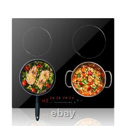 60cm Electric Induction Hob Built-in Cooktop 4 Zone Touch Control Black Lock UK