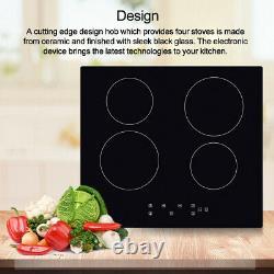 60cm Satin Black Electric Ceramic Hob Touch Control 4 Zone Frameless Ceramic Hob