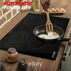 6700W 60cm Electric Ceramic Hob 4 Zone Built-in Worktop & Touch Control Black UK
