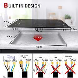77cm Ceramic Hob IsEasy 5 zones, Black, Built-in, Electric, Touch Controls, UK