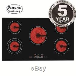 8600W 90cm 5 Zone Touch Control Induction Glass Ceramic Electric Hob Black