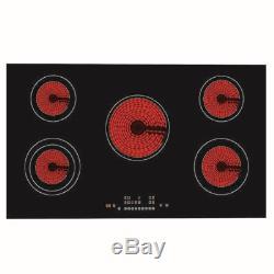90cm 5 Zone Frameless Touch Control Electric Black Glass Ceramic Hob 8600W
