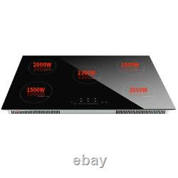 90cm 5 Zone Induction Hob Built-in Satin Glass Cooker Touch Control in Black