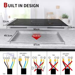 90cm 5Zone Induction Hob, Built-in, Electric, Touch Control, Child Safety Lock, Black