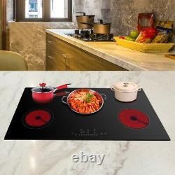 90cm Electric Ceramic Hob 5 Zone Touch Control Satin Glass black DTL-8600W