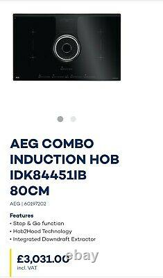 AEG IDK84451IB 83cm Electric Combo Induction Hob with Integrated Hood rrp £3,031