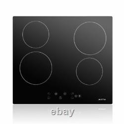 AUCMA 60cm Electric Ceramic Hob, Black, Built-in Touch Controls uk 4 zones