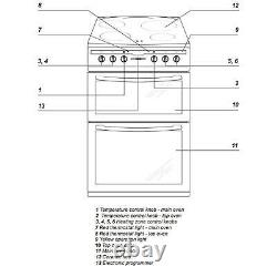 Amica AFC6550BL 60cm Freestanding Double Electric Oven Cooker With Ceramic Hob