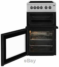 Beko KDC5422AS Free Standing 50cm 4 Hob Double Electric Cooker Silver