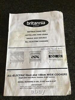 Britannia S Line 90cm Electric Ceramic Hob Range Cooker Matt Black For Repair