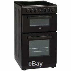 Bush DHBEDC50B Ceramic Hob Easy Clean Enamel Double Electric Cooker Black