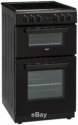 Bush DHBETC50B Twin Electric Cooker Ceramic Hob 4 Cooking Zones 50L Black