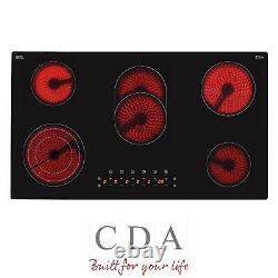 CDA HC9621FR 90cm Black 5 Zone Frameless Touch Control Electric Ceramic Hob