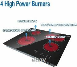 Ceramic Hob 60cm Built-in 4 Zones Electric Cooktop with Dual Oval Zone 6600W UK