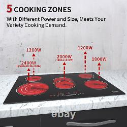 Ceramic Hob 77cm, Black Glass Built-In Electric worktop, 5Zone Touch Control, Timer