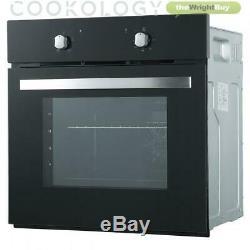 Cookology 60cm Black Single Electric Fan Oven, Ceramic Hob & Hob Pack