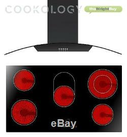 Cookology 90cm touch control Ceramic Hob & Black Curved Glass Cooker Hood Pack
