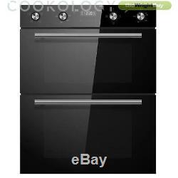 Cookology Black Built-under Double Oven, Ceramic Hob & Chimney Cooker Hood Pack