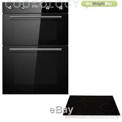 Cookology Black Double Oven & Hob Pack, 60cm Built-in Double Oven & Ceramic Hob