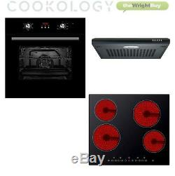Cookology Black Fan Oven, Electric Touch Ceramic Hob & Visor Cooker Hood Pack