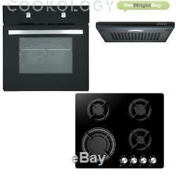 Cookology Black Single Electric Fan Oven, 60cm Gas on Glass Hob, Visor Hood Pack