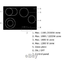 Cookology CET770 Dual Zones 77cm Electric Built-in Touch Ceramic Hob in Black