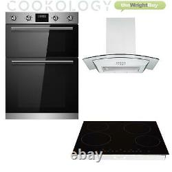 Cookology S/Steel Double Oven, Ceramic Hob & Curved Glass Cooker Hood Pack, 60cm