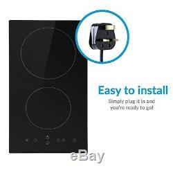ElectriQ 30cm Domino Touch Control Two Zone Ceramic Hob in Black Plug eiQC30P