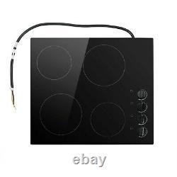 ElectriQ 60cm 4 Zone Glass Ceramic Hob With Knob Control Black
