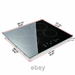 Electric 6000W Ceramic Hob 60cm Touch Control 4 Zone Satin Glass Kitchen Cooker
