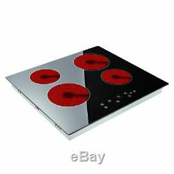 Electric 6000W Ceramic Hob Touch Control 4 Zone 60cm Satin Glass Kitchen Cooker