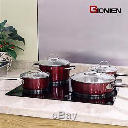 GIONIEN Ceramic Hob 60cm Electric Cooktop Burner, Built in Black Glass Cooker 4