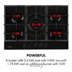 Gas Hob 5-Burner Electric Kitchen Glass Ceramic Cooking top cooker Black