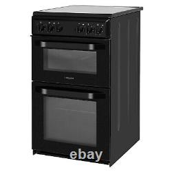 HOTPOINT HD5V92KCB 50cm Double Cavity Electric Cooker with Ceramic Hob Black