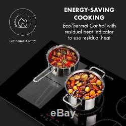 Hob Induction Cooker Glass Ceramic Kitchen Touch Panel Timer 5 Zones 7000W Black