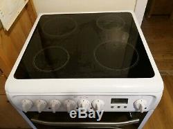 Hotpoint DSC60P 60cm Electric Cooker With Double Ovens & Ceramic Hob White