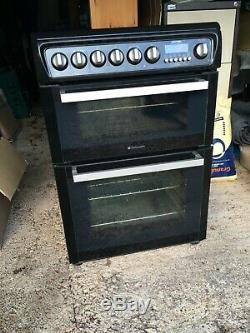 Hotpoint EW74 Electric Black Cooker 60cm double oven and grill ceramic hob