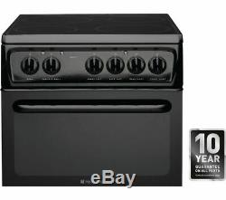 Hotpoint HAE51KS 50cm Twin Cavity Electric Cooker & 4 Zone Ceramic Hob in Black