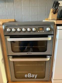 Hotpoint HUE61GS 60cm Double Oven Electric Cooker With Ceramic Hob Grey