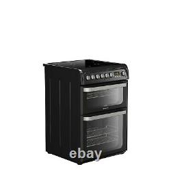 Hotpoint HUE61K Ultima 60cm Double Oven Electric Cooker with Ceramic Hob Black