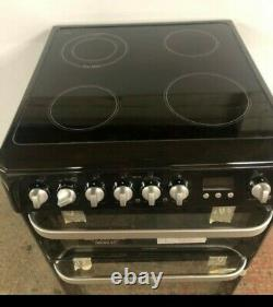 Hotpoint HUE61KS Double Electric Cooker with Ceramic Hob 60cm Black