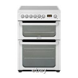 Hotpoint HUE61PS Ultima 60cm Double Oven Electric Cooker with Ceramic Hob Whit