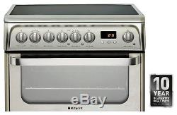 Hotpoint HUE61XS Free Standing 60cm 4 Hob Double Electric Cooker Silver